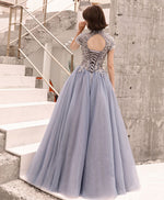 Gray round neck tulle lace long prom dress, evening dress