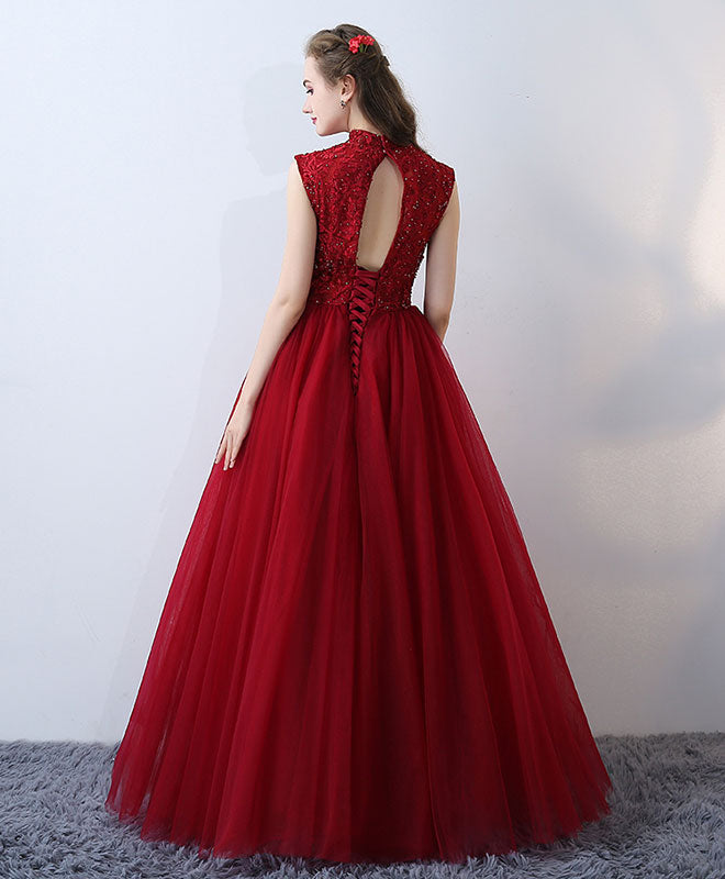 Burgundy High Neck Lace Long Prom Dress Formal Dress Shopluu