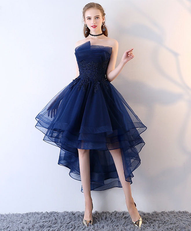 Dark blue tulle short prom dress, high low evening dress
