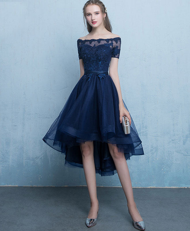 new style & luxury exclusive range value for money Dark blue lace tulle short prom dress, high low evening dress
