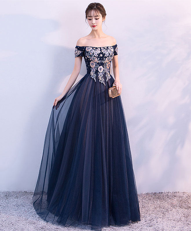 A line tulle off shoulder long prom dress, evening dress