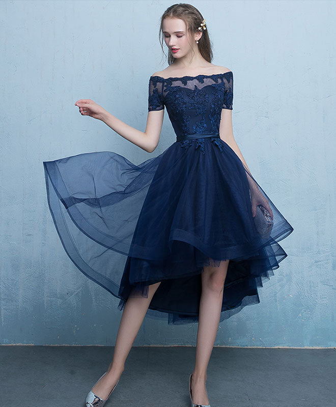 Dark blue lace tulle short prom dress, high low evening dress