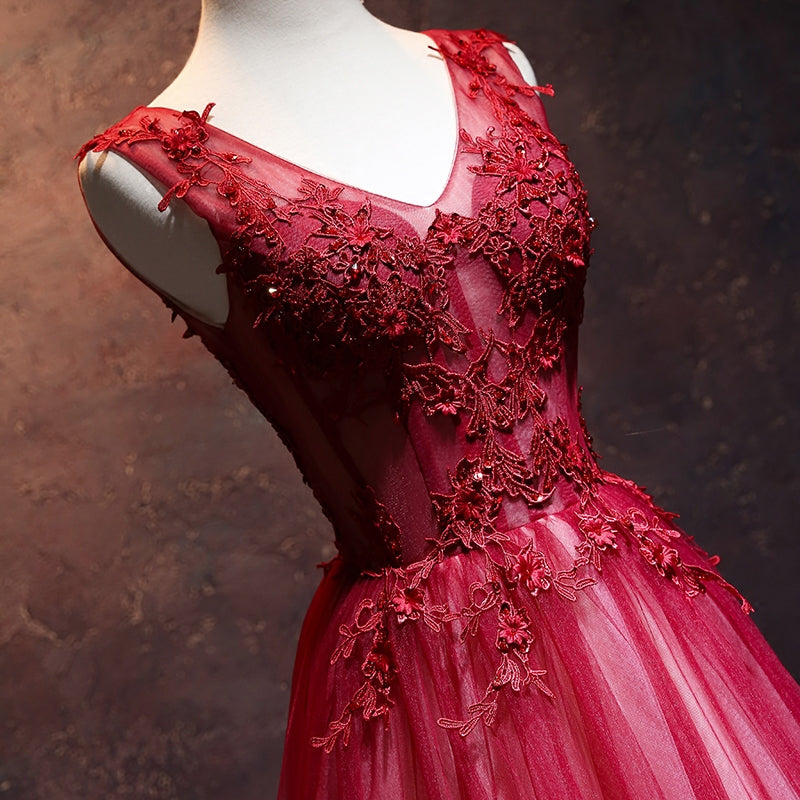 Burgundy v neck tulle lace long prom dress, lace evening dress