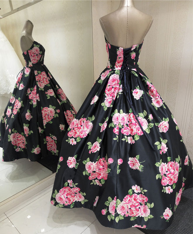 Stylish floral pattern A line long prom dress, evening dresses