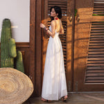 White tulle long summer dress white beach dress