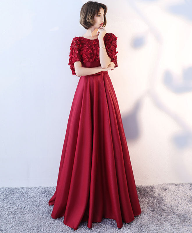 Simple burgundy swet neck long prom dress, two piece evening dress