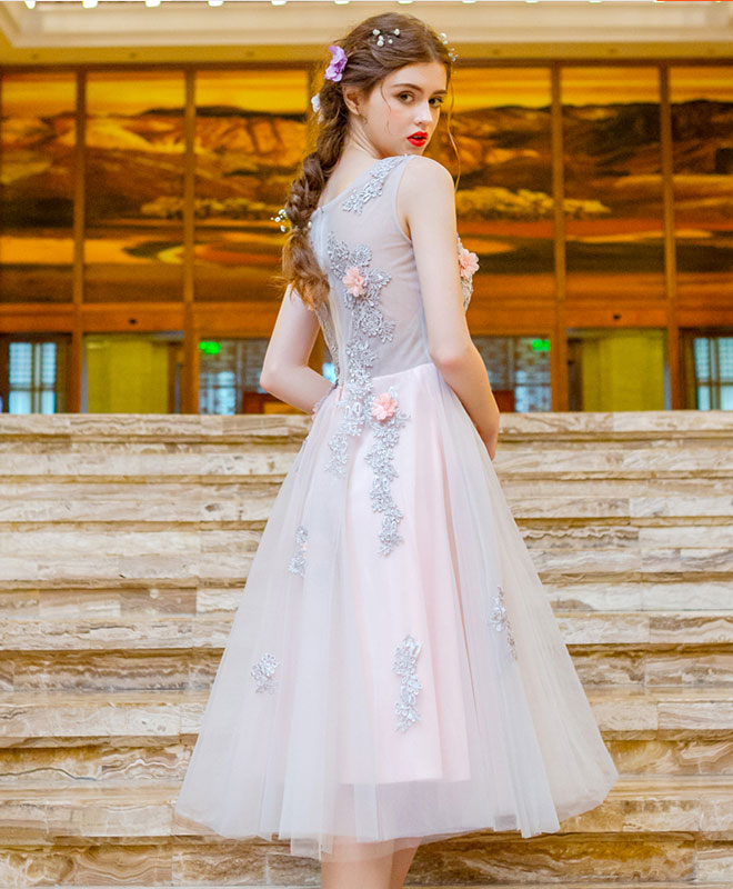 Charming lace tulle short prom ddress, homecoming dress