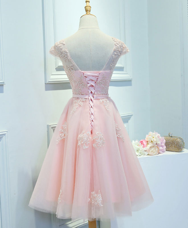 Pink lace tulle short prom dress, pink evening dress