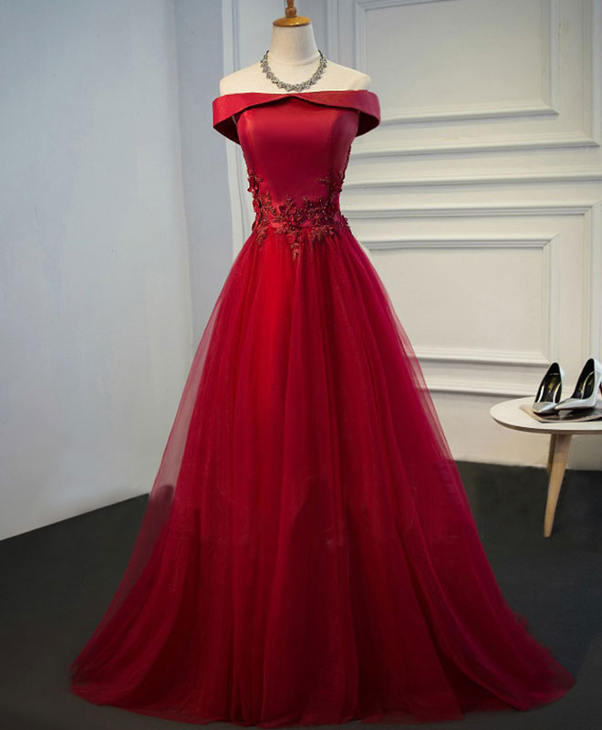 Burgundy lace tulle long prom dress, off shoulder evening dress