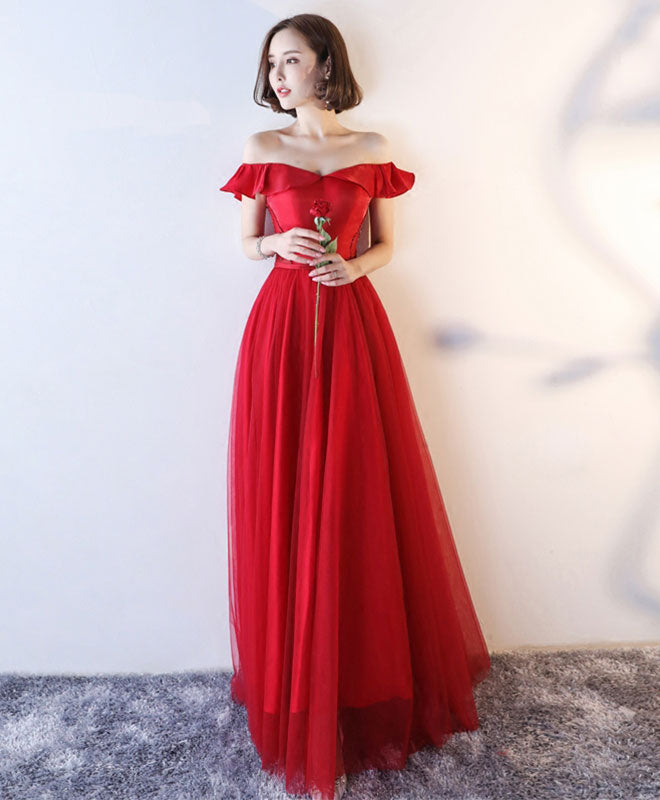 7f10c05ca4d0 Red off shoulder tulle long A line prom dress