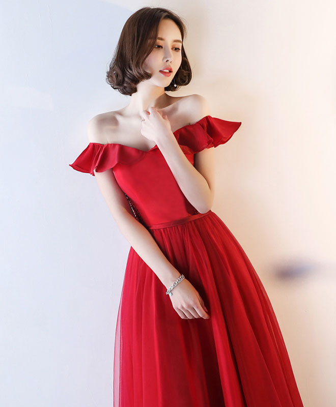 Red off shoulder tulle long A line prom dress, red evening dress