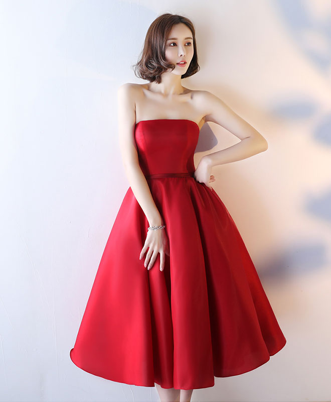 Simple red strapless tea length prom dress, red evening dress
