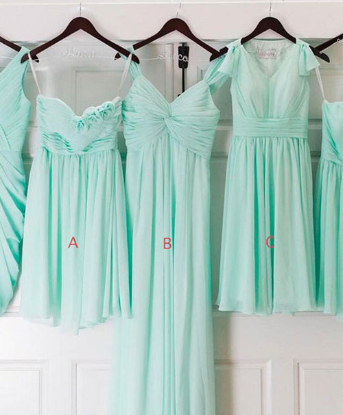 Mint green A line chiffon prom dress, bridesmaid dress