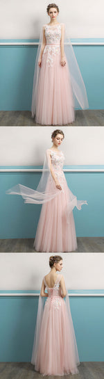 Pink round neck lace long prom dress, lace evening dress
