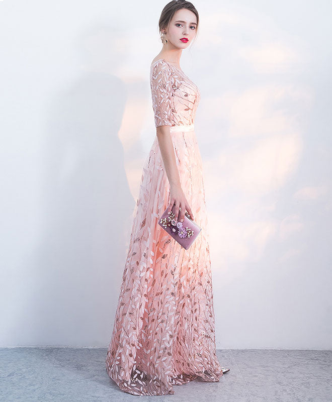 Elegant pink sequins tulle long prom dress, eveninng dress