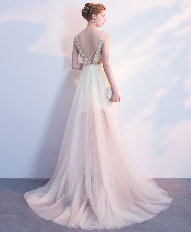 Champagne v neck tulle long prom dress, formal dress
