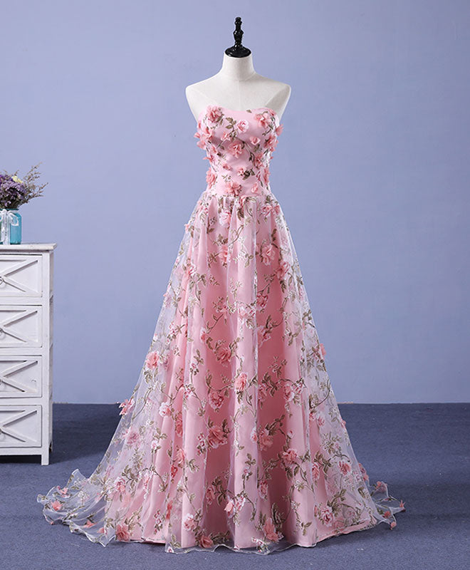 Pink tulle 3d flowers long prom dress pink evening dress shopluu pink tulle 3d flowers long prom dress pink evening dress mightylinksfo