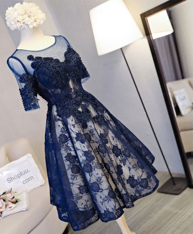 Cute dark blue lace short prom dress, blue homecoming dress