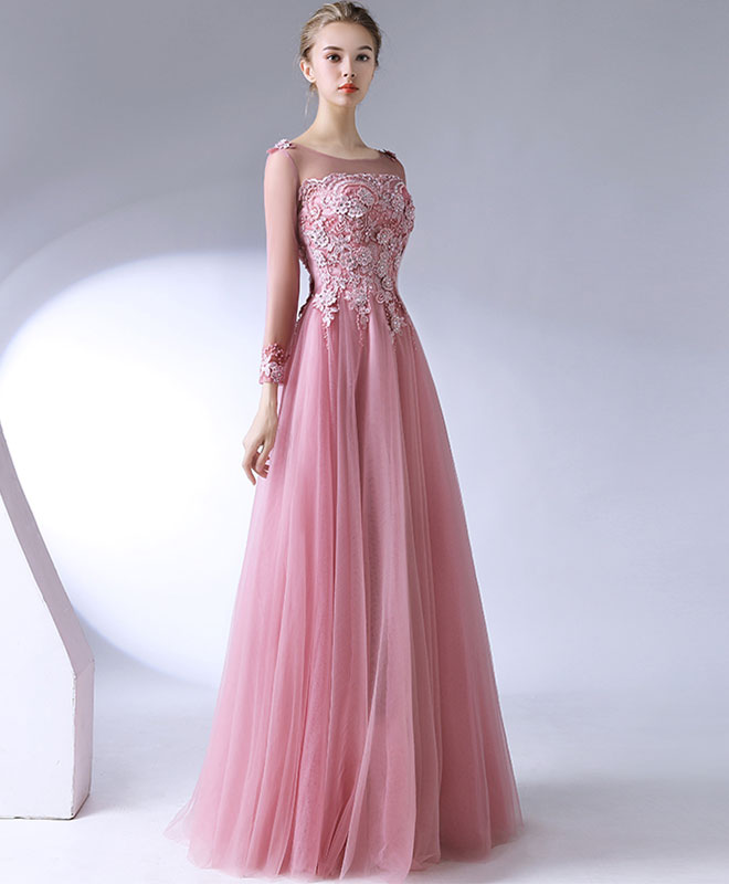 d640b9018bf Pink lace tulle long prom dress