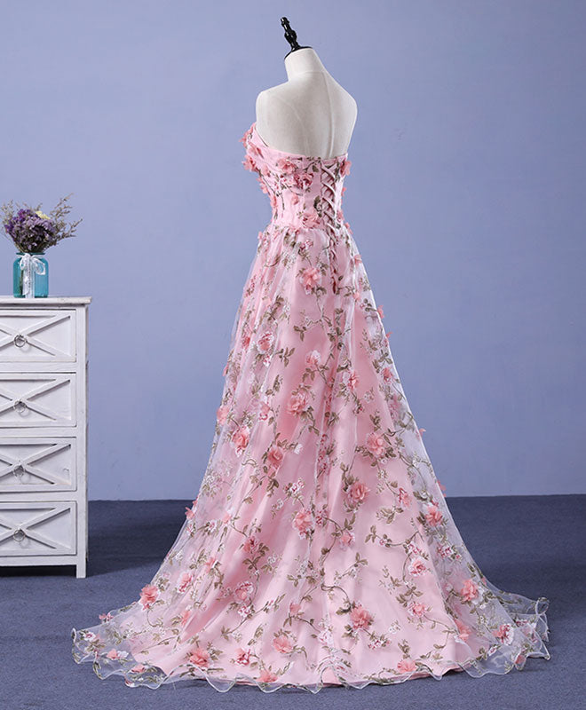 Pink tulle 3D flowers long prom dress, pink evening dress – shopluu