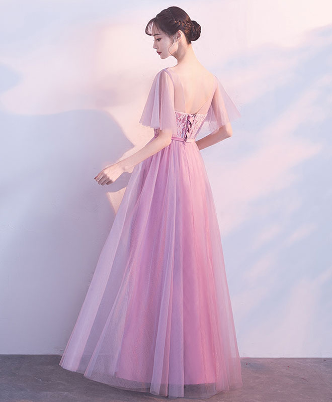 Pink tulle lace long prom dress, pink evening dresses