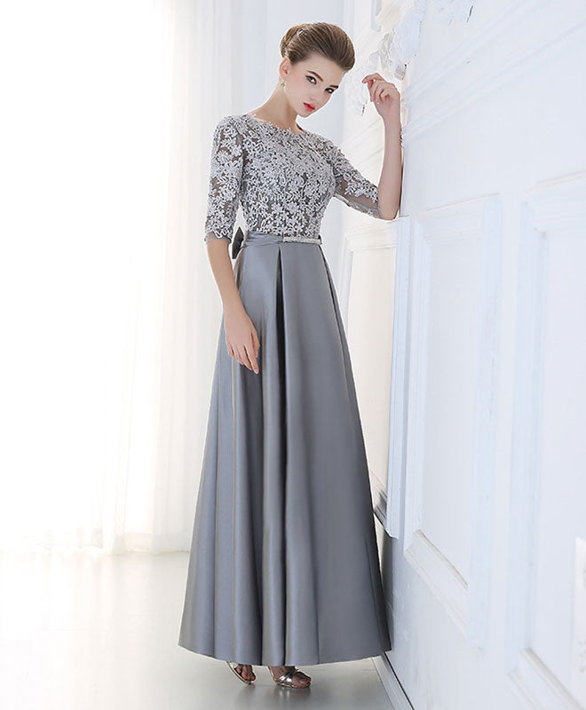 A line lace 1/2 sleeve long prom dress, lace evening dress
