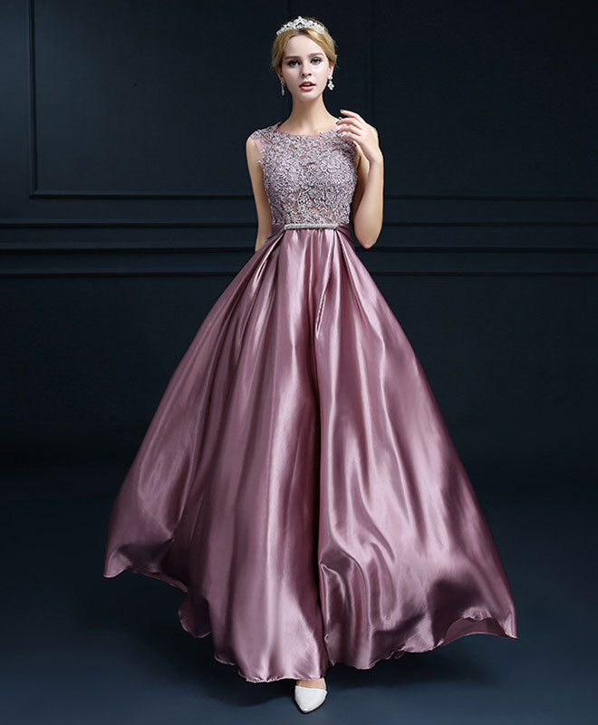 A line lace satin long prom dress, lace evening dress