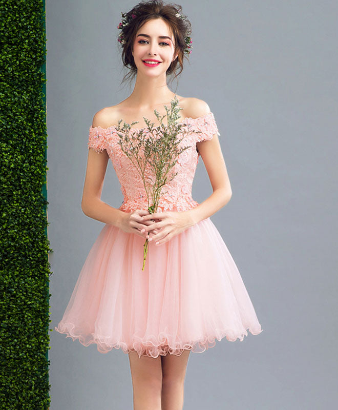 Pink A line lace tulle short prom dress, homecoming dresses