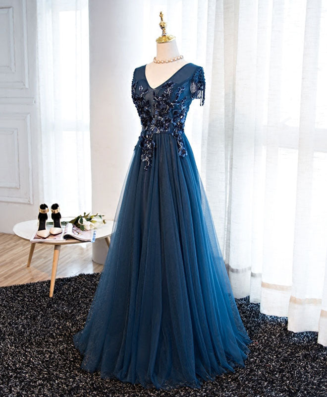 Dark blue tulle beaded long A line prom dress, formal dress