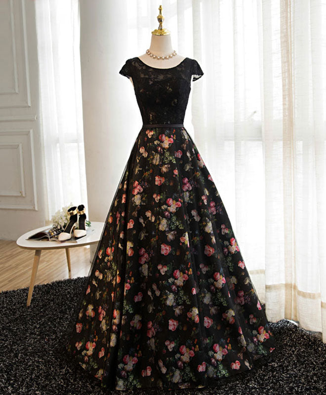 Black lace floral patterns long prom dress, black evening dress