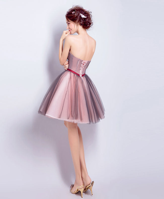 A line sweetheart neck tulle mini prom dress, homecoming dress