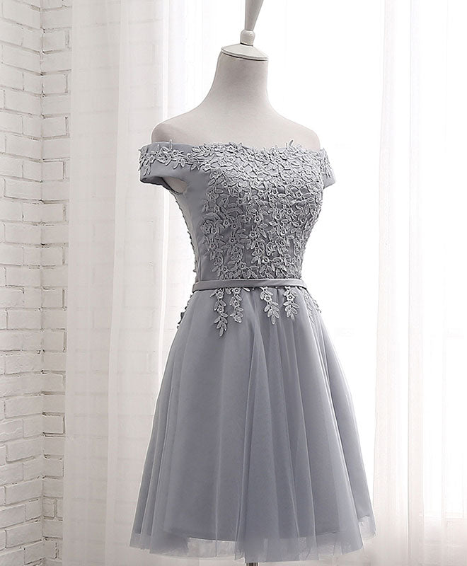 Gray A line lace off shoulder prom dress, lace evening dresses