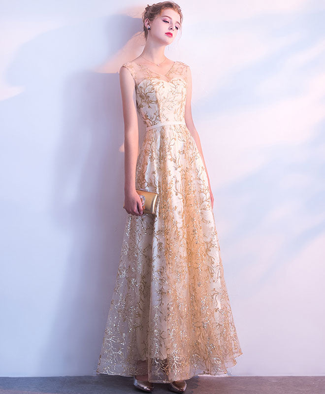 Elegant Gold Lace Tulle Long Prom Dess Lace Evening Dress Shopluu