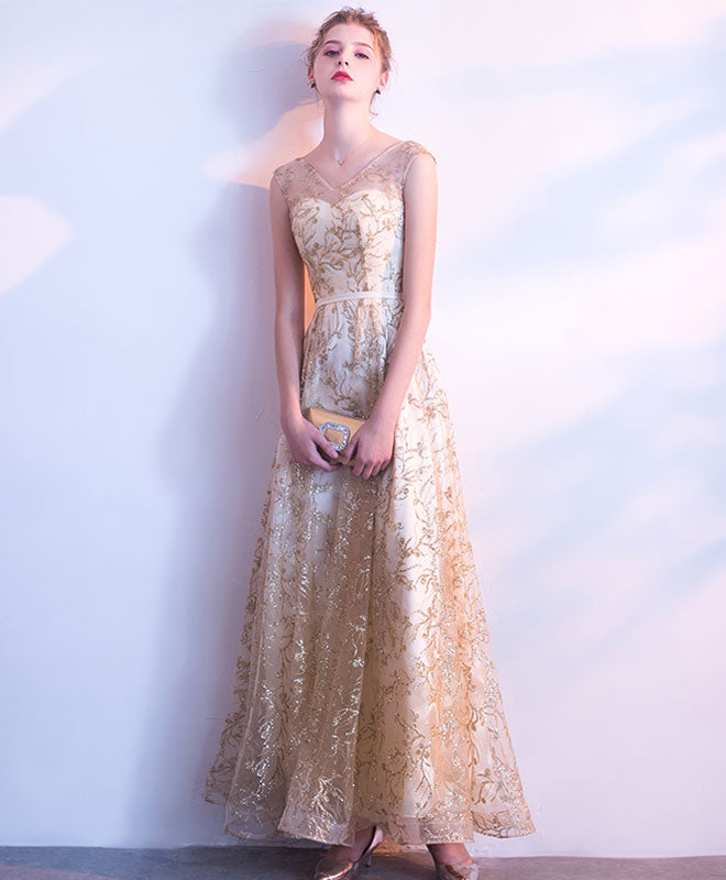 Elegant gold lace tulle long prom dess, lace evening dress
