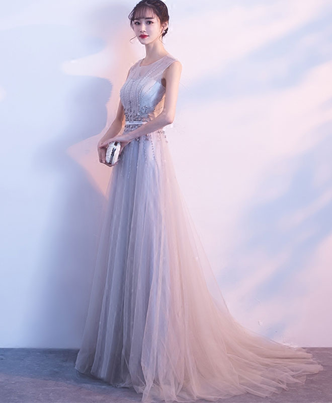 Gray round neck tulle long prom dress, gray evening dress