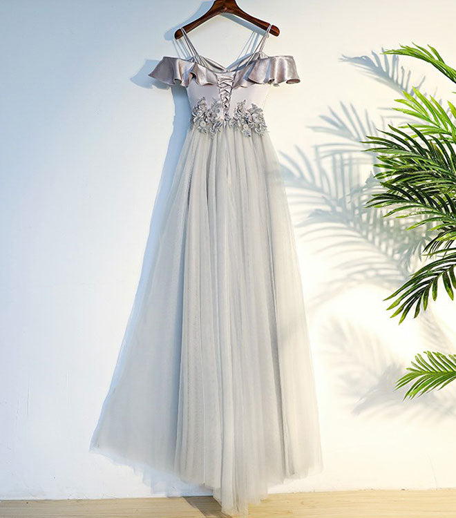 Gray A line lace long prom dress, gray evening dress