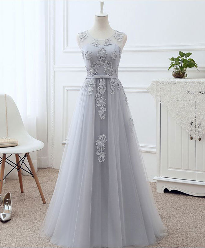 Gray round neck lace tulle prom dress, lace evening dresses
