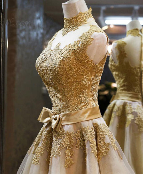 Gold lace high neck short prom dress, homecoming dress