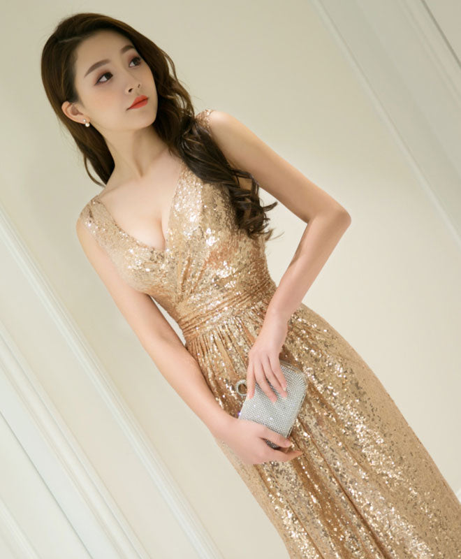 Mermaid sequins v neck long prom dress, bridesmaid dress