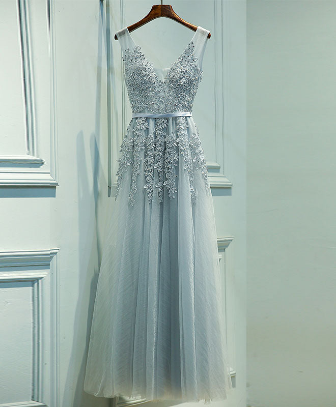 Gray v neck lace tulle long prom dress, lace evening dress