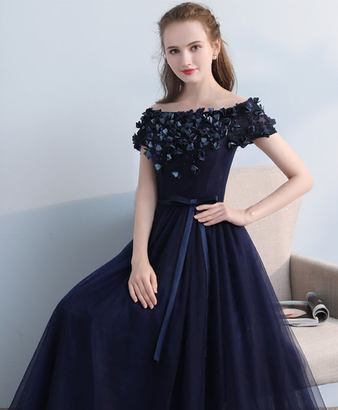 Dark blue tulle off shoulder long prom dress, blue eveninng dress