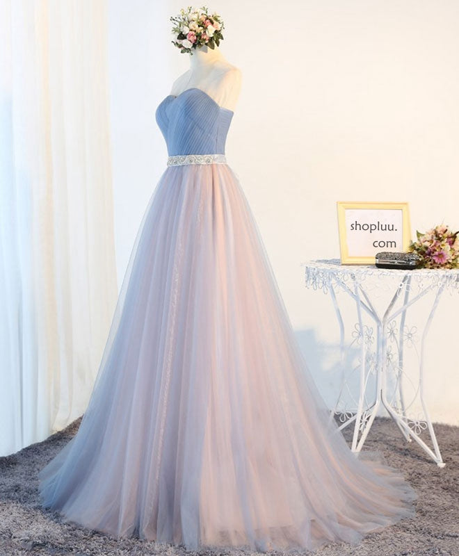 Charming A-line sweetheart tulle long prom dress, formal dresses