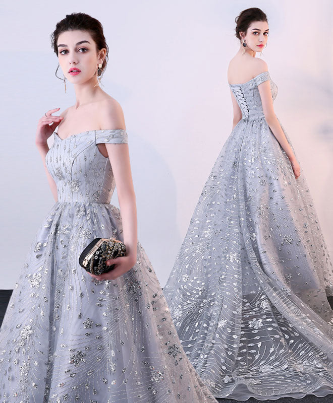 Gray off shoulder long prom dress, evening dress