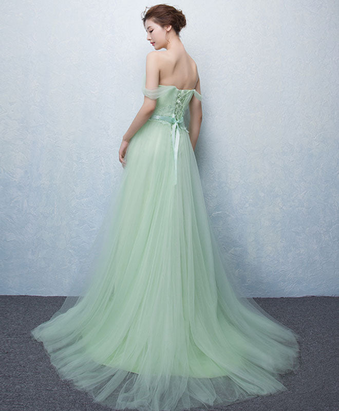 Cute green tulle lace long prom dress, green evening dress
