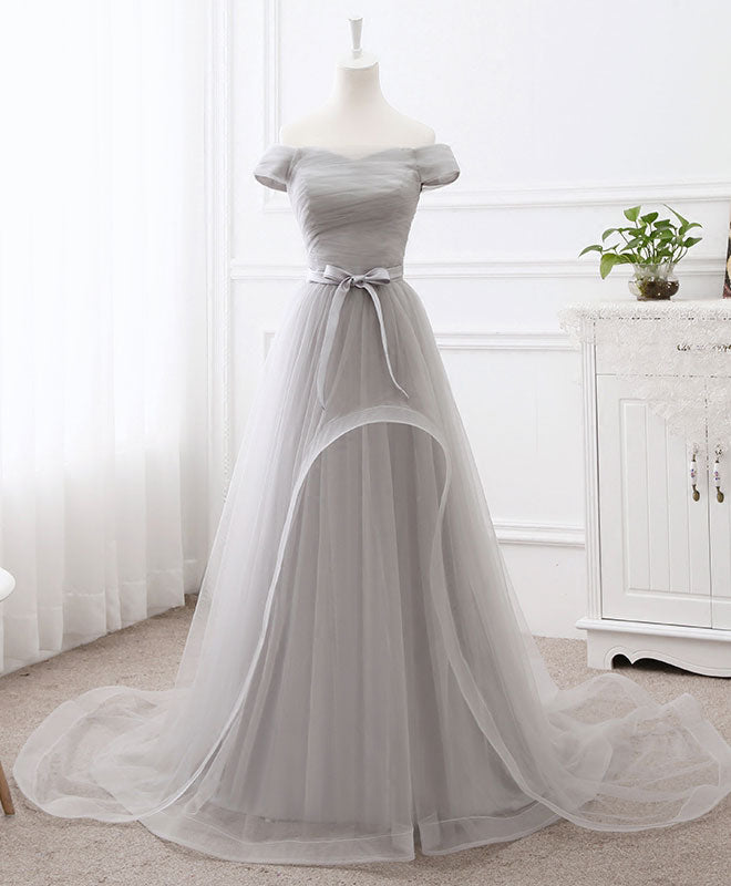 Gray tulle long prom dress, gray evening dress