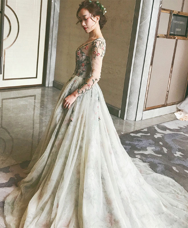 Gray v neck tulle long prom dress, long sleeve evening dress
