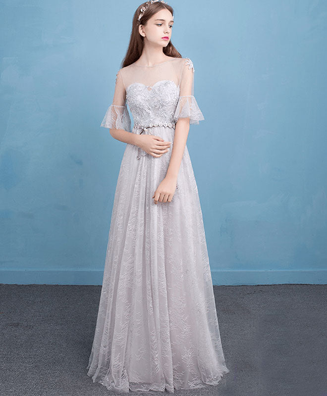 Cute gray lace long prom dress, lace evening dress