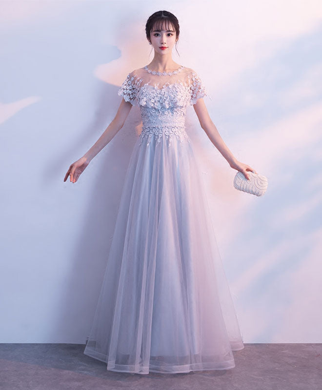 Unique gray tulle long prom dress, lace evening dress