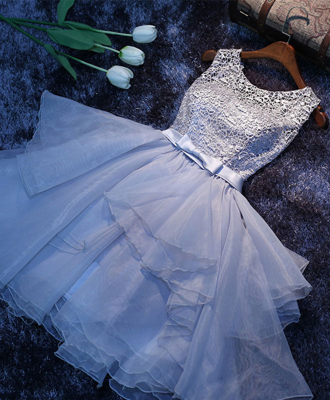 Cute gray lace short prom dress, homecoming dress