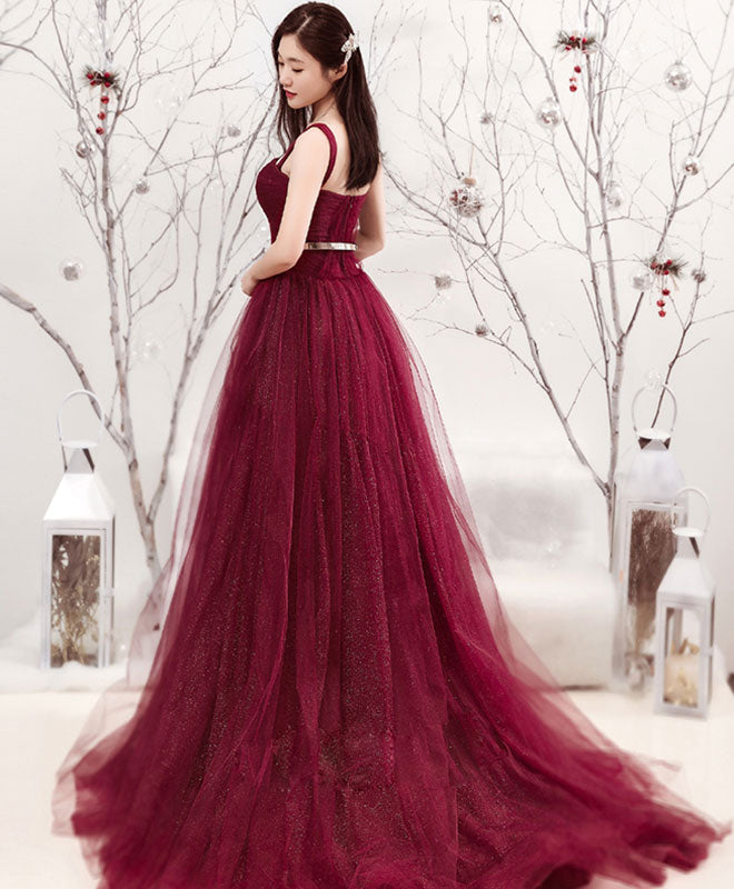 Burgundy tulle long prom dress, formal dress
